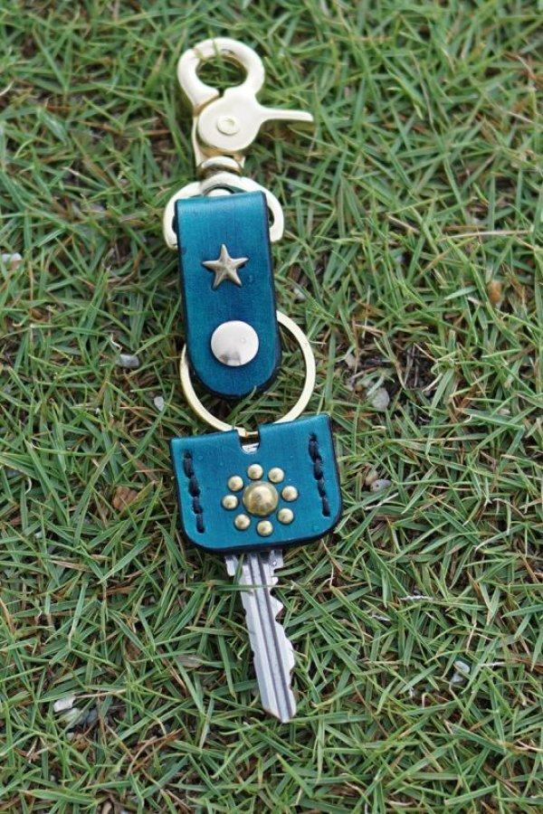 画像1: one star shinning /key holder × key cap set (blue) / one star ×sun