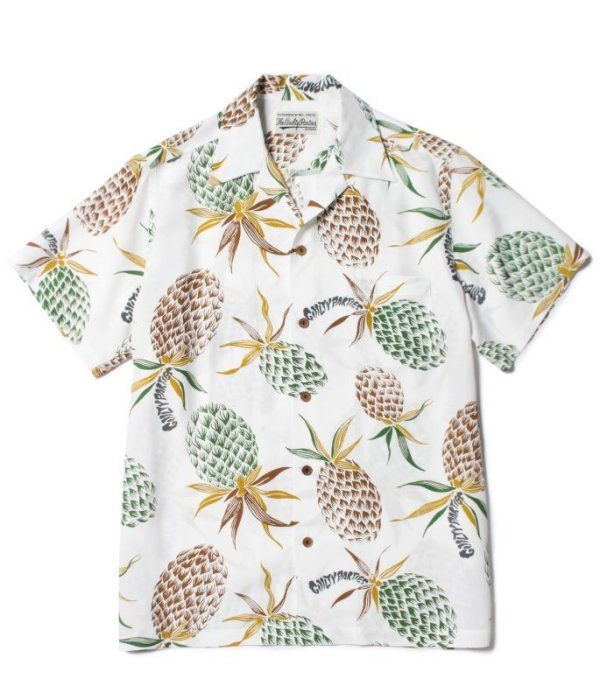 画像1: WACKOMARIA PINE APPLE HAWAIIAN SHIRT S/S white