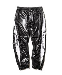 F-LAGSTUF-F  NYLON TRACK PANTS  (BLACK ×GRAY)