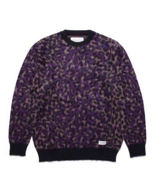 他の写真1: WACKOMARIA LEOPARD MOHAIR JACQUARD SWEATER purple
