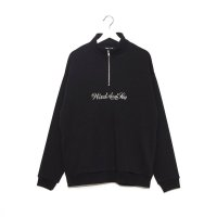 WIN&SEA  HALF ZIP SWEAT SHIRT -blak-