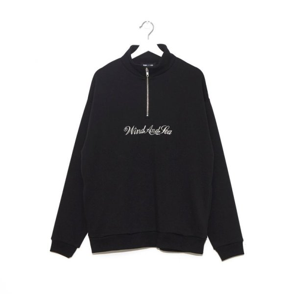 画像1: WIN&SEA  HALF ZIP SWEAT SHIRT -blak-