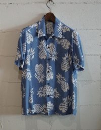Kiruto pineapple Hawaiian shirt (KARIYUSHI WEAR PINEAPPLE PATTERN) L,blue