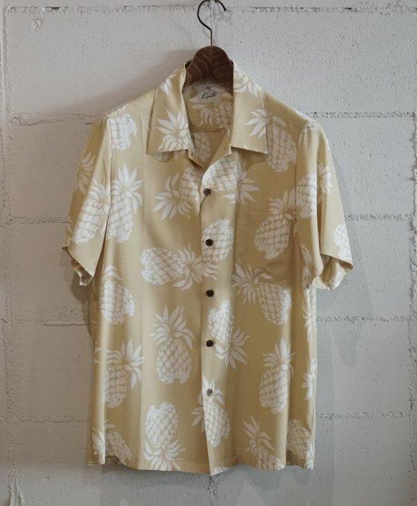 画像1: Kiruto pineapple Hawaiian shirt (KARIYUSHI WEAR PINEAPPLE PATTERN) beige