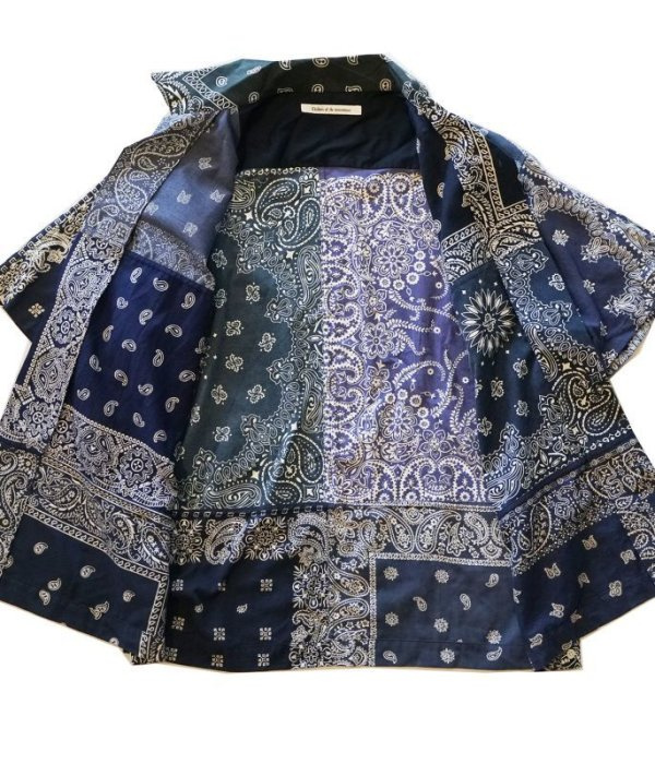 画像2: Children of the discordance    VINTAGE BANDANA PATCHWORK SHIRT SS/ navy
