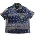 画像1: Children of the discordance    VINTAGE BANDANA PATCHWORK SHIRT SS/ navy (1)