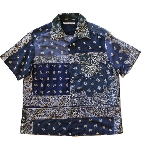 画像1: Children of the discordance    VINTAGE BANDANA PATCHWORK SHIRT SS/ navy
